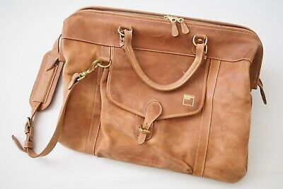 Mulholland Brothers Large Brown Leather Weekender Travel Duffel Doctors Bag USA