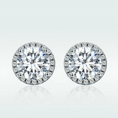 925 Solid Silver Stud Earrings with Shining CZ For Classic Women Jewelry girl