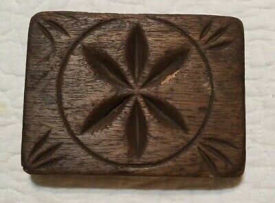 Early Vintage *Pretty Flower* Primitive Wooden Square Block Butter Mold AAFA