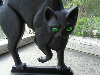 Antique Primitive Cast Iron Arched Black Cat Door Stop VTG Halloween Glass Eyes