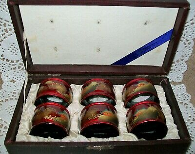 6 x ANTIQUE ORIENTAL HAND PAINTED LACQUERED NAPKIN HOLDERS original box