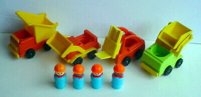 Fisher Price 398 Vintage Little People Trucks Asst LIFT LOAD 8 Pc Construction