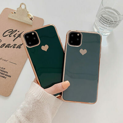 For iPhone 11 Pro Max XS XR X 7 8 Plus 6S Plating Heart Silicone Soft Case Cover