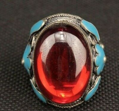 Chinese old cloisonne zircon Tibetan silver ring Band flowers a02