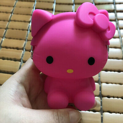 Cute 3D Rose Hello Kitty Bow Rubber Key Coin Purse Wallet Christmas Gift