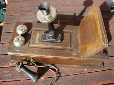 Antique Western Electric Wall Phone Wooden Oak Telephone.