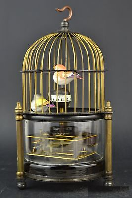 Exquisite brass bird cage Mechanical Table Clock Alarm Clock
