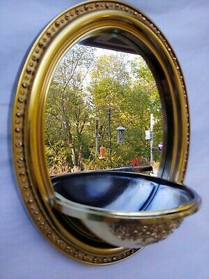 """Vtg Home Oval Wall Mirror Metallic Gold Syroco Plastic 14.5"""" x 12"""" Attached Bowl"""