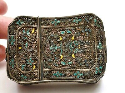 Early 20C Chinese Sterling Silver Enamel Filigree Vanity Compact Mirror Box