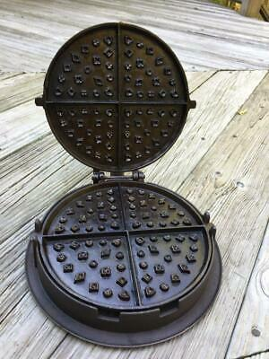 Antique No. 8 Cast Iron Waffle Iron W/Base Complete Ready to Use NICE!