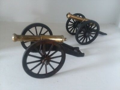 Two Vintage Brass Cannons Cast Iron Decorative Collectible