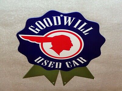 "Vintage Pontiac Goodwill Used Cars W/ Indian Chief 12"" Metal Gasoline & Oil Sign"