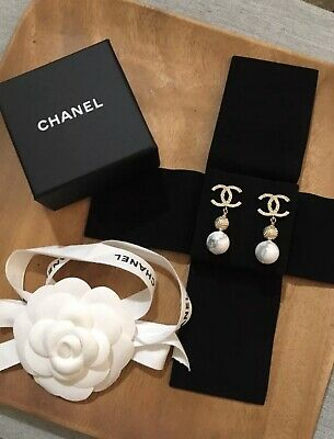 CHANEL Earrings White Marble Golden CC LOGO DANGLE With Receipt Authentic