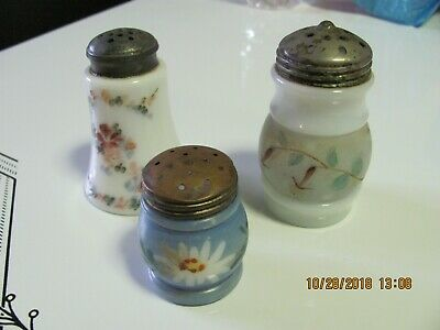 Antique Small Collection Of Victorian Hand Painted Salt Shakers