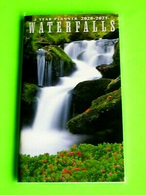 2020-21 2 Year 2 yr PLANNER WATERFALLS Monthly Pocket Small Calendar Red Flowers