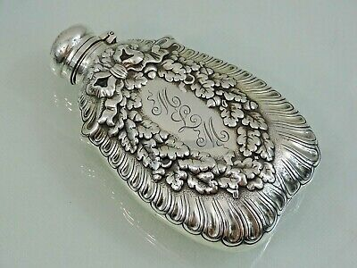 GORGEOUS ANTIQUE TIFFANY & Co STERLING SILVER ALCOHOL FLASK Oak Leaves / Acorns