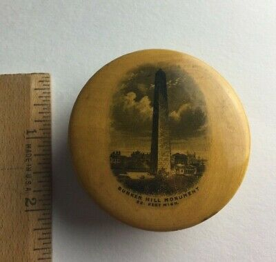 OLD BUNKER HILL MONUMENT SOUVENIR ROUND CASE WOODEN Wood with German Compass