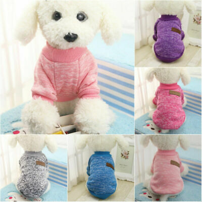 Pet Clothes Knitted Puppy Dog Jumper Sweater For Small Dogs Coat Cat UK STOCK