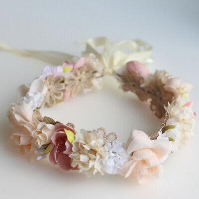 Flower Girl Crown Wedding Boho Headpiece Bride Headband Hair Wreath Wedding