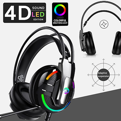 [ LED Edition ] 3.5mm Gaming Headset Headphones Surround Mic  PS4 Xbox One
