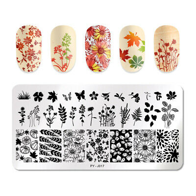 PICT You Nail Stamping Plates Maple Leaf Flower Stencil Image Printing Templates