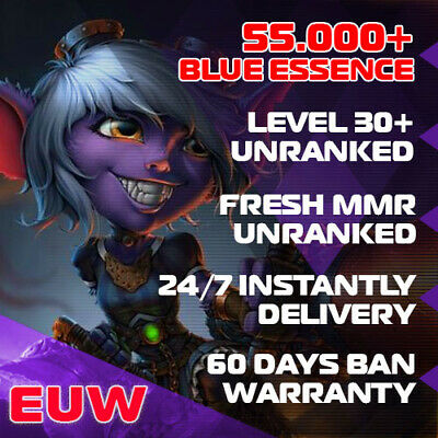 League of Legends EUW LOL Account Smurf 30000 BE IP Unranked Level 30 PC