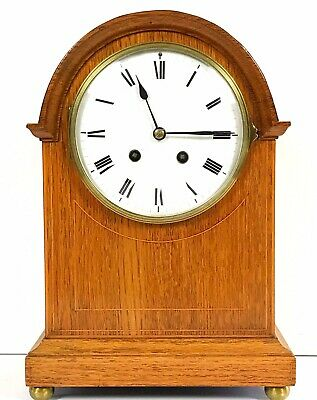 French Oak Striking Mantle Clock