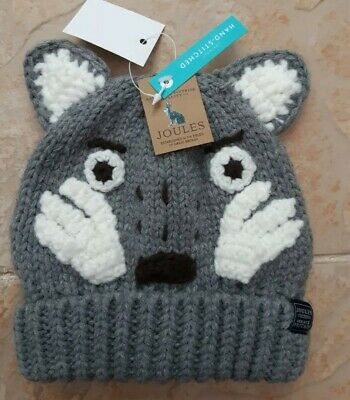 🐺BNWT RRP £18 JOULES CHUMMY WOLF Grey Wool Hat Boys Age 4-7 Soft Lined Hat🐺