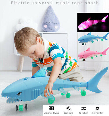 LED Light Music Electric Toy For Boys Kids Gift Leash Shark Glow Toy Baby Toy