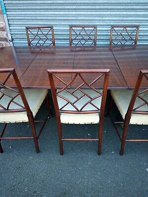 Set Of 8 Victorian Cockpen Mahogany Dining Chairs & Matching Table