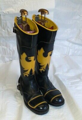 Eye Catching Black and Yellow Leather Motorcycle Boots. Size U.K. 4