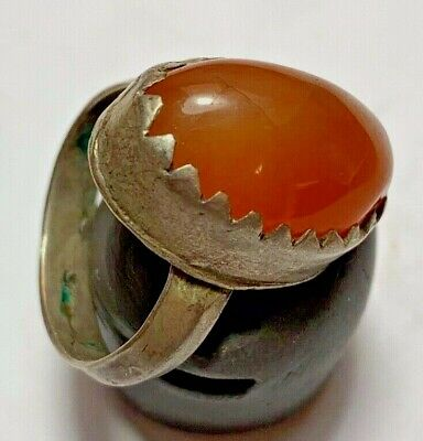 ANCIENT ROMAN SILVER RING - RARE CARNELIAN STONE 9.6gr  34mm (INNER 21mm)
