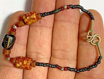 Ancient rare Antique Roman lovely mixed color glass bead Beads Bracelet