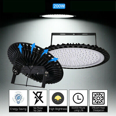 LED High Bay Light 200W 6500K Warehouse UFO Led Shop Factory Light Cool White UK