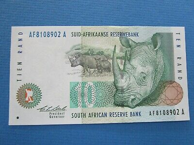 1993 South Africa 10 Rand Banknote * AF 8108902 A * UNC