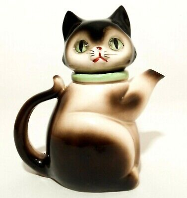 Japanese Mid-20Th Century Vint 1972 Cmi Large Ceramic Cat Figure Teapot W/Handle