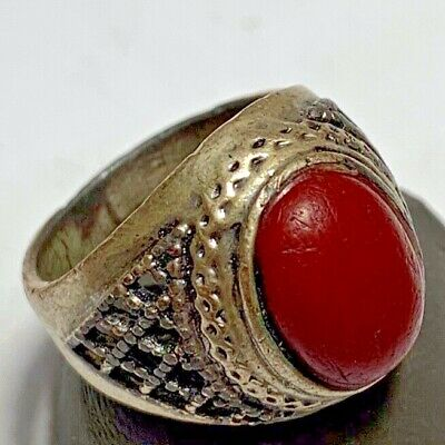 ANCIENT ROMAN SILVER RING WITH RARE RED STONE 9.1gr 25mm (inner 19mm)