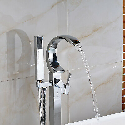 Floor Mount Bathtub Faucet Free Standing Tub Filler Mixer Tap Hand Shower Chrome