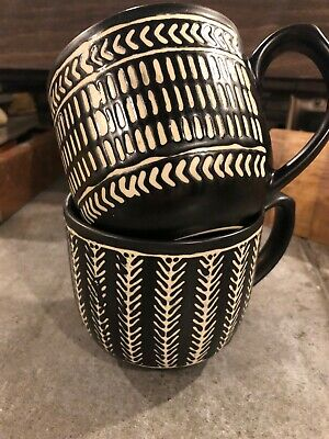 The Old Pottery Co Coffee Mugs Set of 2 Black & White Graphic Modern Farmhouse
