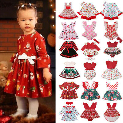 UK Xmas Toddler Baby Girls Christmas Romper Dress Bodysuit Plaid Outfits Clothes