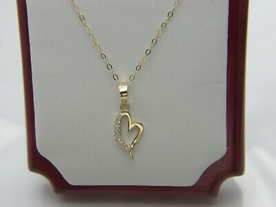 Real 10Kt Yellow Gold Heart Pendant  Necklace & Solid 10k gold Link Chain