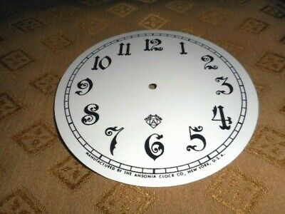 For American Clocks-Ansonia Paper (Card) Clock Dial -125mm M/T - Arabic-Spares