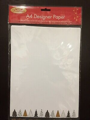 New - A4 Christmas Design Paper - Christmas Trees  - Acid Free - 25 Sheets