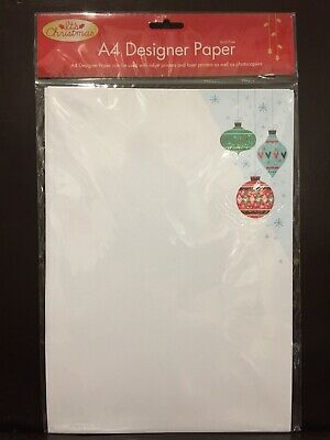 New - A4 Christmas Design Paper - Christmas Baubles (3) - Acid Free - 25 Sheets