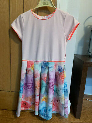 Ted Baker Girls Dress, Age 11-12, Peach Bodice With Coral Piping