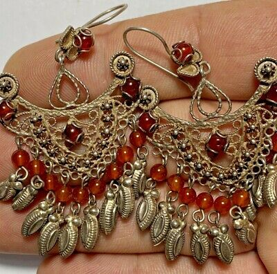 Hurrem Sultan Turkish Ottoman Style Silver Earrings Carnelian Stones
