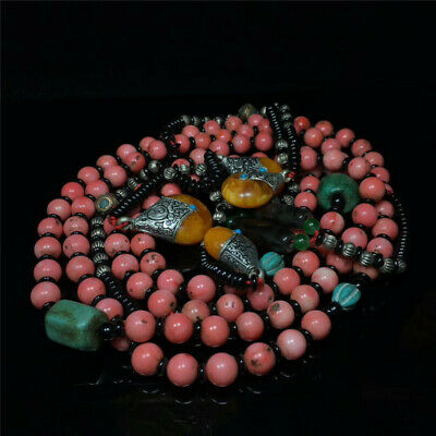 "39.37"" Exquisite Chinese Coral Handmade court beads Amulet Necklace"