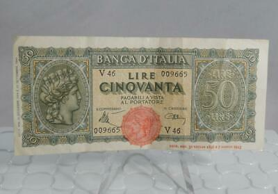 Italy Issue 1944 50 Lire Banknote Note P-74 P0204