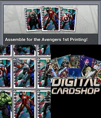 Topps Marvel Collect Card Trader Avengers 1st First Printing Complete Set of 12