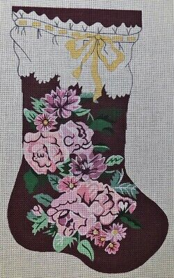 Gorgeous VICTORIAN ROSE CHRISTMAS STOCKING Handpainted Needlepoint Canvas TS 20""